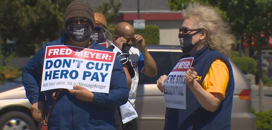 QFC, Fred Meyer grocery workers manufacture extra money after protesting stay of 'Hero Pay'
